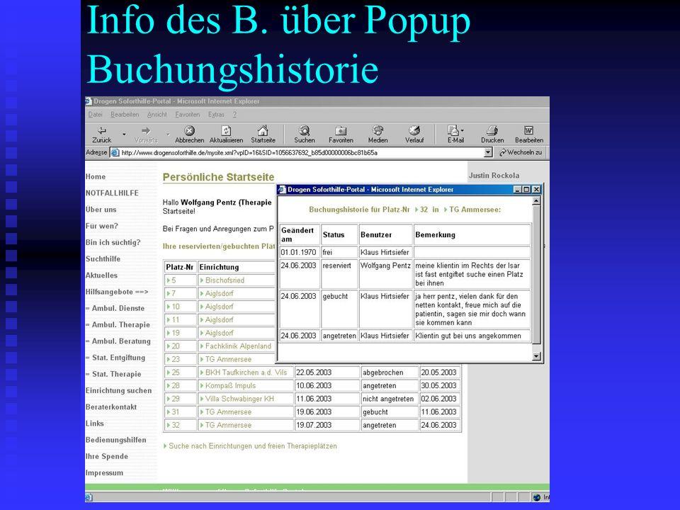 Info des B. über Popup Buchungshistorie