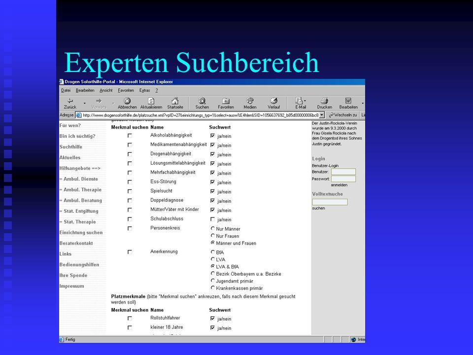 Experten Suchbereich