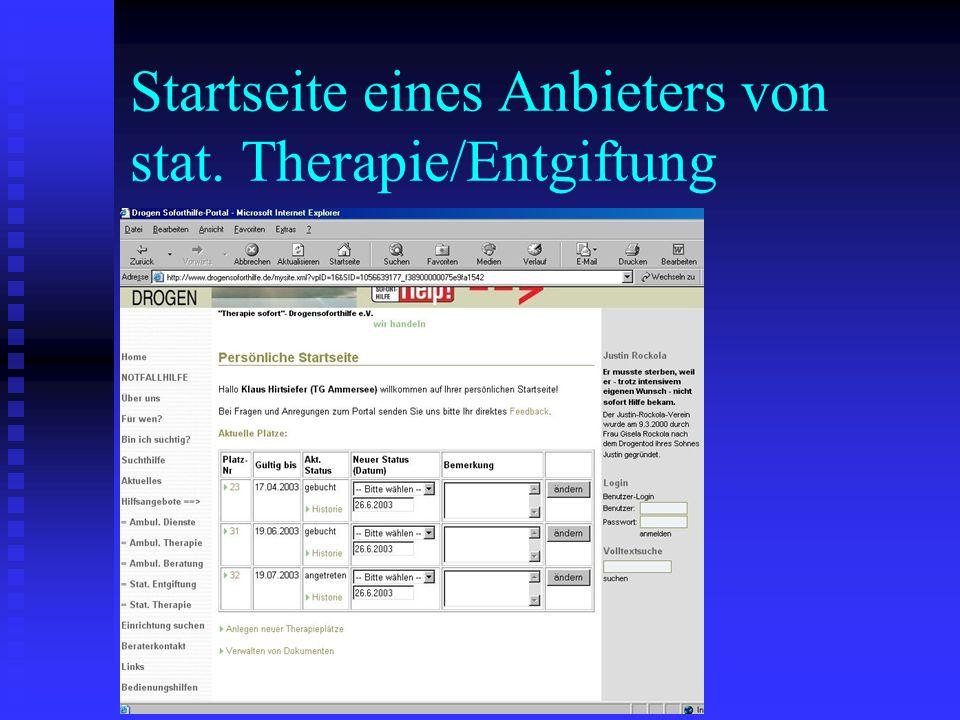 Startseite eines Anbieters von stat. Therapie/Entgiftung