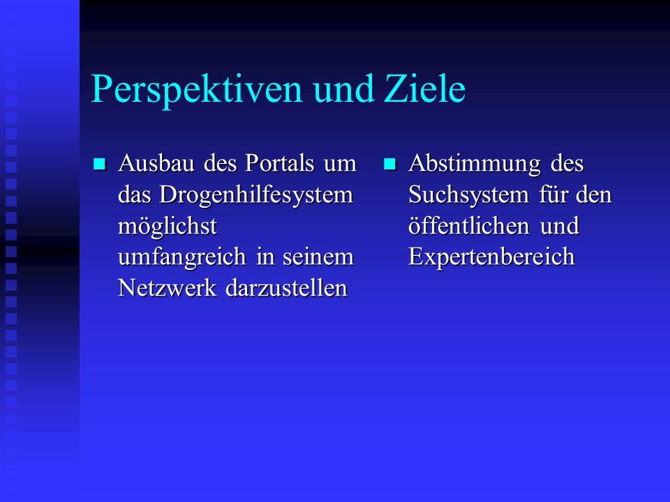 Perspektiven und Ziele Ausbau des Portals um das Drogenhilfesystem möglichst umfangreich in seinem Netzwerk darzustellen Ausbau des Portals um das Drogenhilfesystem möglichst umfangreich in seinem Netzwerk darzustellen Abstimmung des Suchsystem für den öffentlichen und Expertenbereich