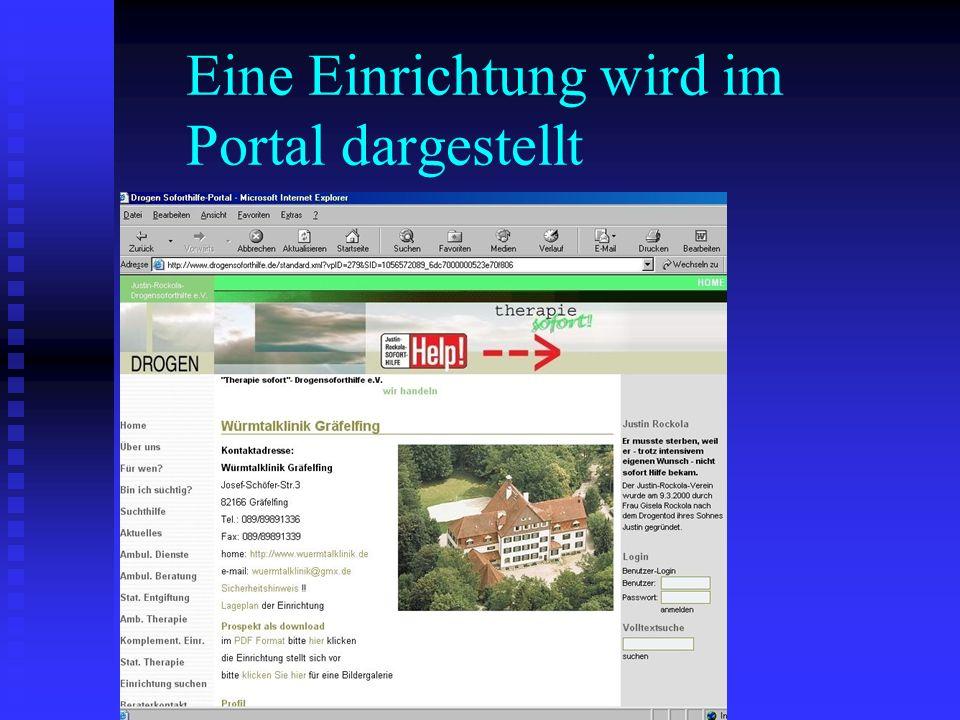 Eine Einrichtung wird im Portal dargestellt