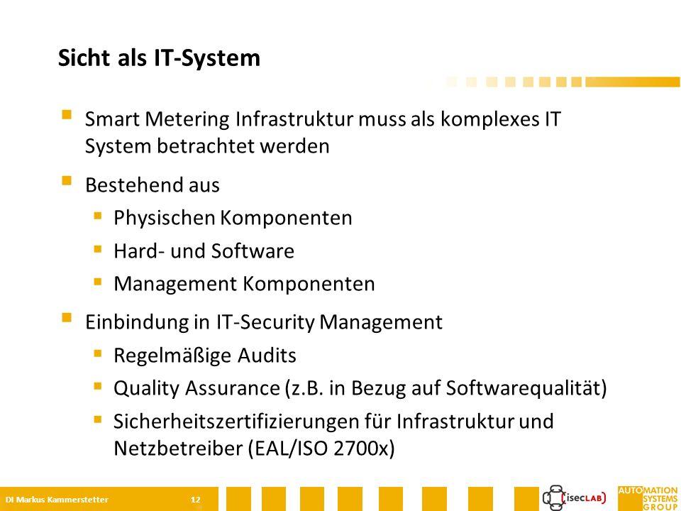 Smart Metering Infrastruktur muss als komplexes IT System betrachtet werden  Bestehend aus  Physischen Komponenten  Hard- und Software  Management Komponenten  Einbindung in IT-Security Management  Regelmäßige Audits  Quality Assurance (z.B.