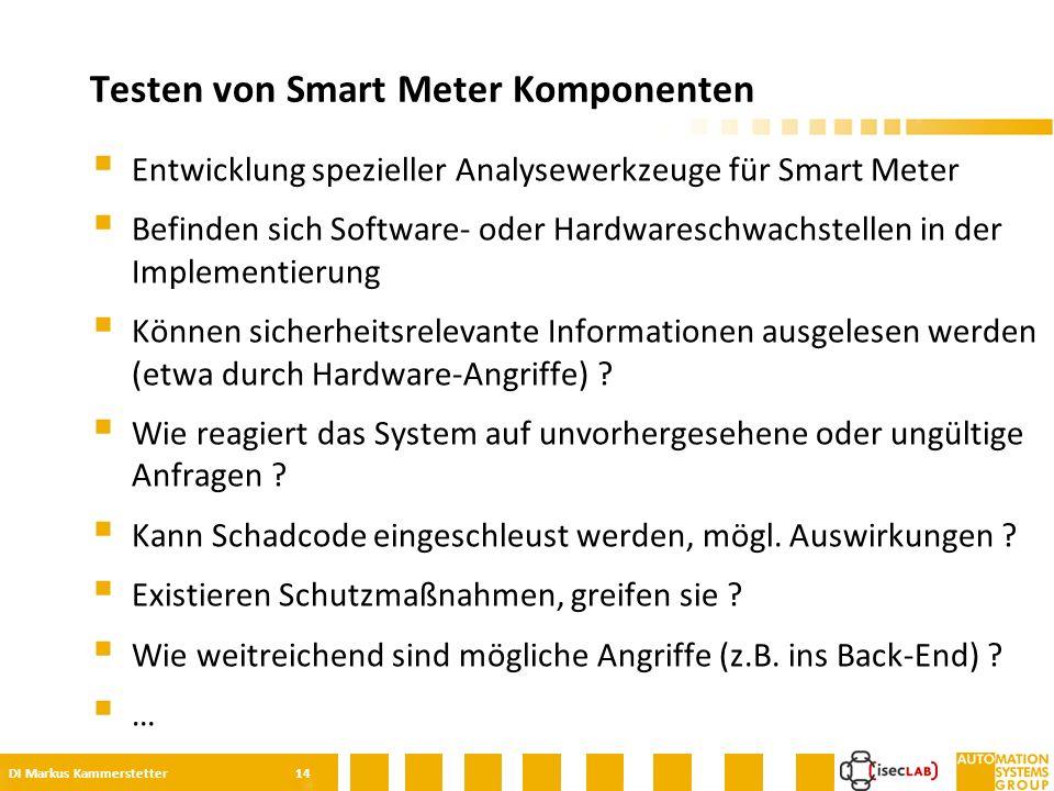  Entwicklung spezieller Analysewerkzeuge für Smart Meter  Befinden sich Software- oder Hardwareschwachstellen in der Implementierung  Können sicherheitsrelevante Informationen ausgelesen werden (etwa durch Hardware-Angriffe) .