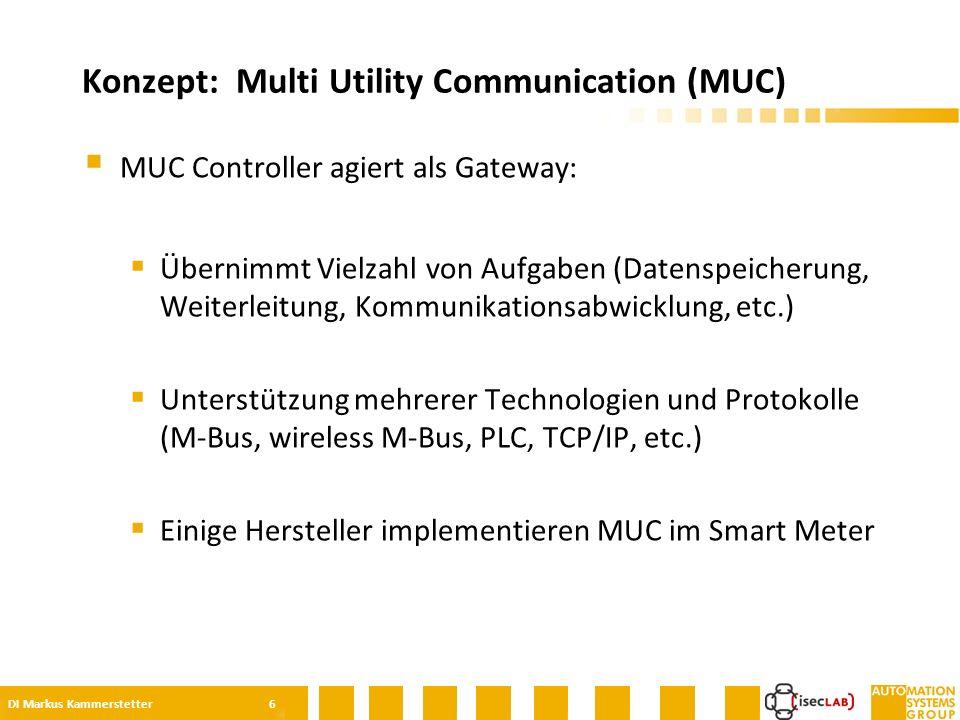  MUC Controller agiert als Gateway:  Übernimmt Vielzahl von Aufgaben (Datenspeicherung, Weiterleitung, Kommunikationsabwicklung, etc.)  Unterstützung mehrerer Technologien und Protokolle (M-Bus, wireless M-Bus, PLC, TCP/IP, etc.)  Einige Hersteller implementieren MUC im Smart Meter Konzept: Multi Utility Communication (MUC) DI Markus Kammerstetter 6