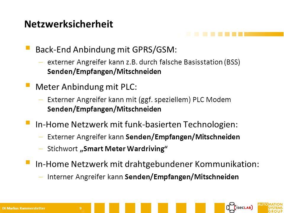  Back-End Anbindung mit GPRS/GSM:  externer Angreifer kann z.B.
