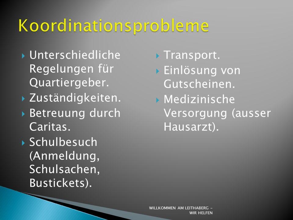  Unterschiedliche Regelungen für Quartiergeber.  Zuständigkeiten.