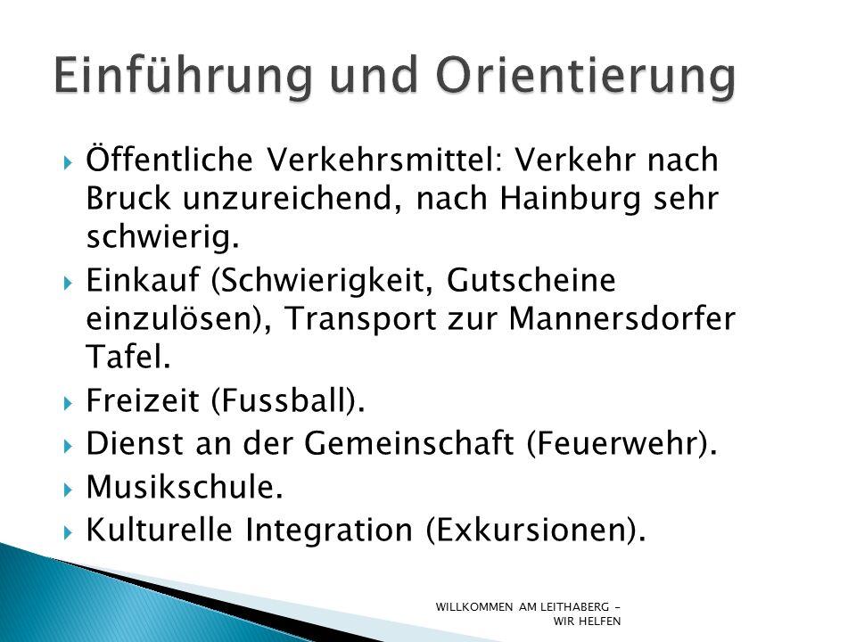  Öffentliche Verkehrsmittel: Verkehr nach Bruck unzureichend, nach Hainburg sehr schwierig.