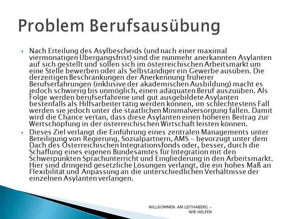 Nach Erteilung des Asylbescheids (und nach einer maximal viermonatigen Übergangsfrist) sind die nunmehr anerkannten Asylanten auf sich gestellt und sollen sich im österreichischen Arbeitsmarkt um eine Stelle bewerben oder als Selbständiger ein Gewerbe ausüben.