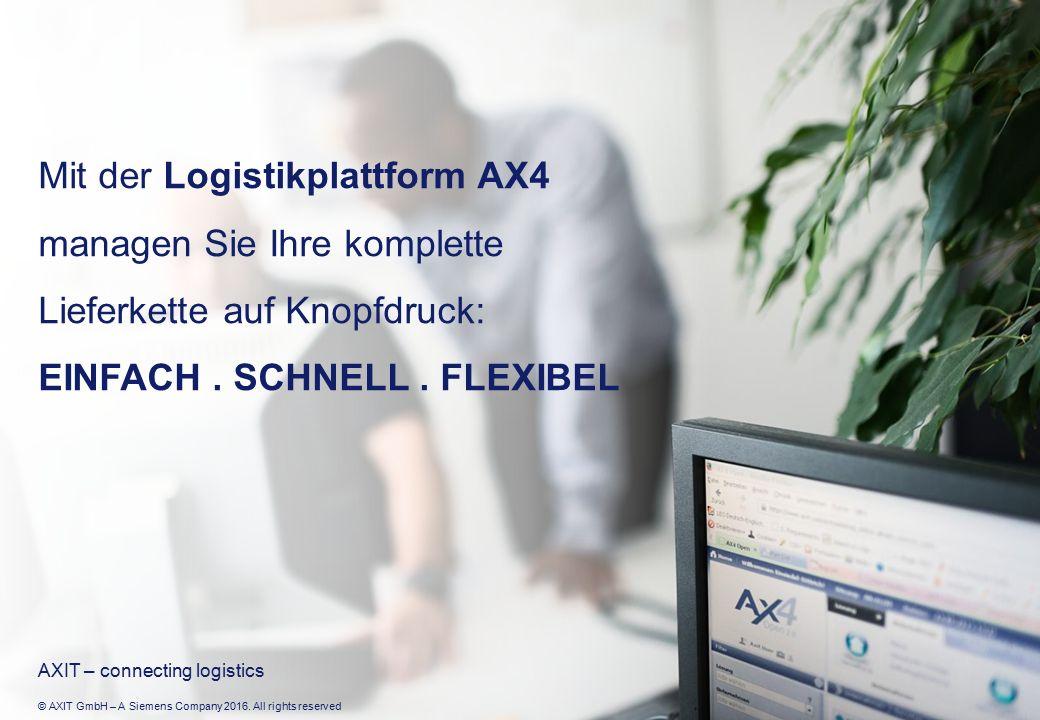 © AXIT GmbH – A Siemens Company 2016. All rights reserved Mit der Logistikplattform AX4 managen Sie Ihre komplette Lieferkette auf Knopfdruck: EINFACH