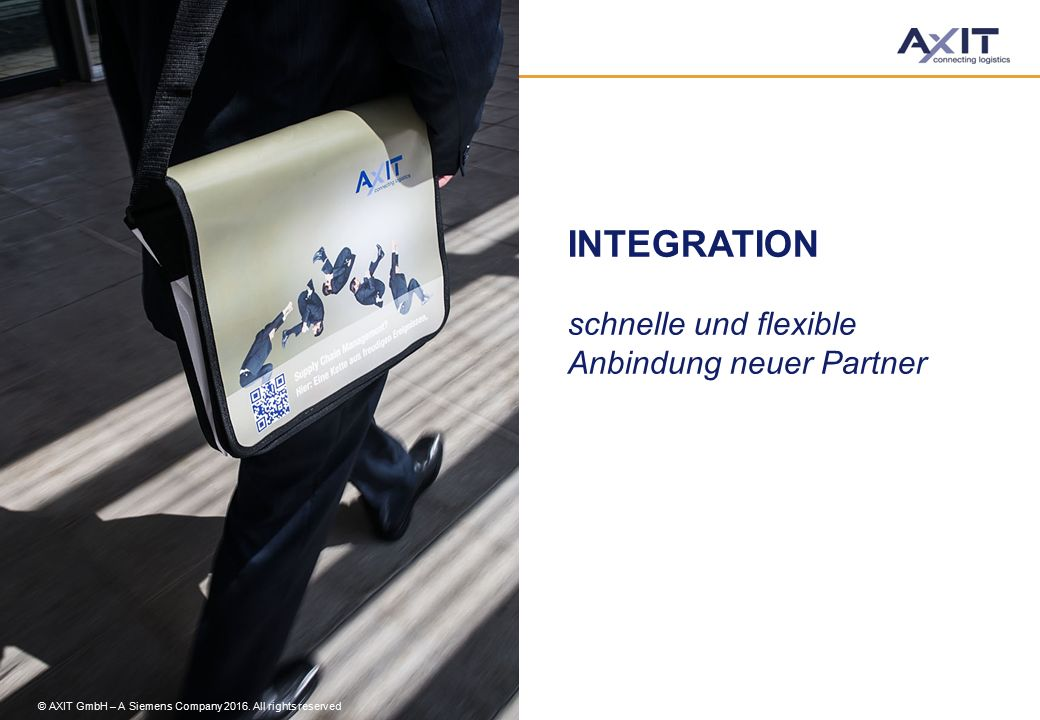 INTEGRATION schnelle und flexible Anbindung neuer Partner © AXIT GmbH – A Siemens Company 2016. All rights reserved