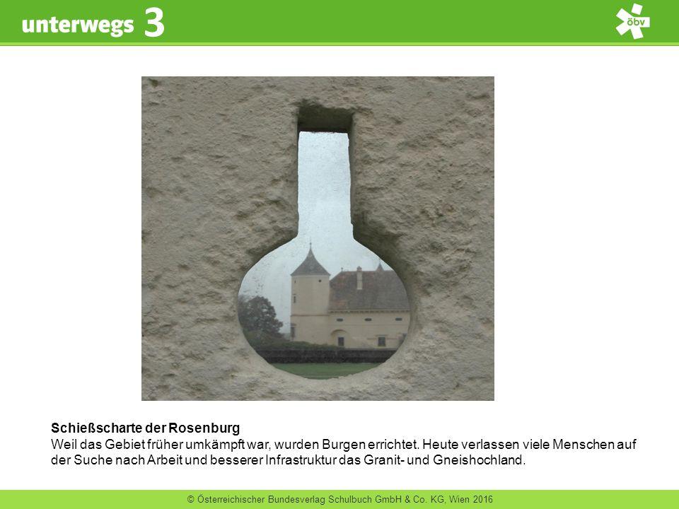 © Österreichischer Bundesverlag Schulbuch GmbH & Co. KG, Wien 2016 3 Schießscharte der Rosenburg Weil das Gebiet früher umkämpft war, wurden Burgen er