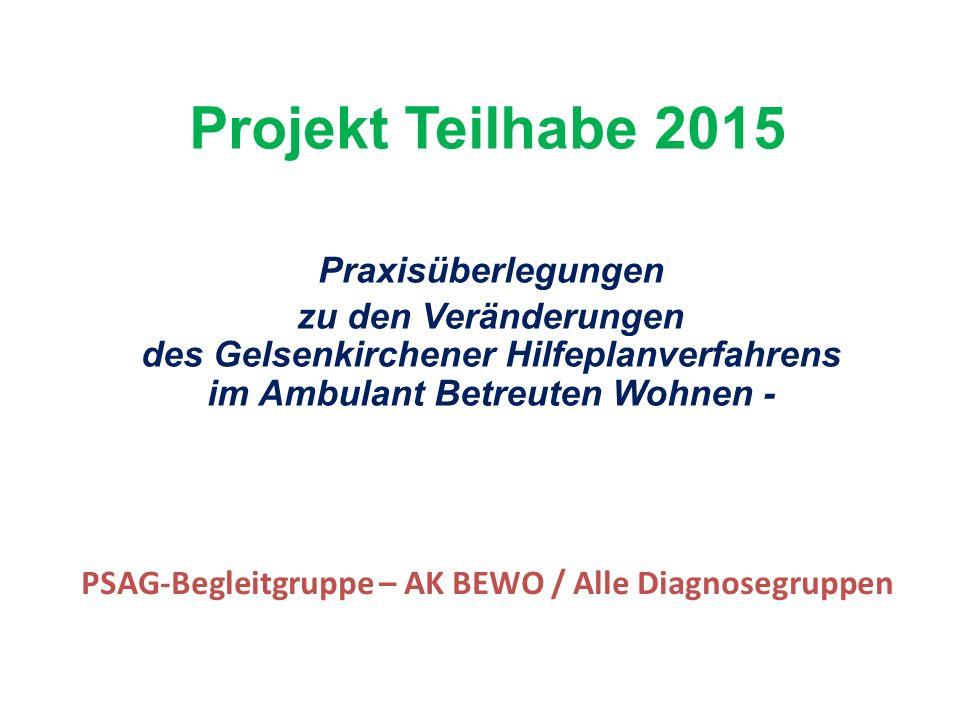 Projekt Teilhabe 2015 Praxisüberlegungen zu den Veränderungen des Gelsenkirchener Hilfeplanverfahrens im Ambulant Betreuten Wohnen - PSAG-Begleitgruppe – AK BEWO / Alle Diagnosegruppen
