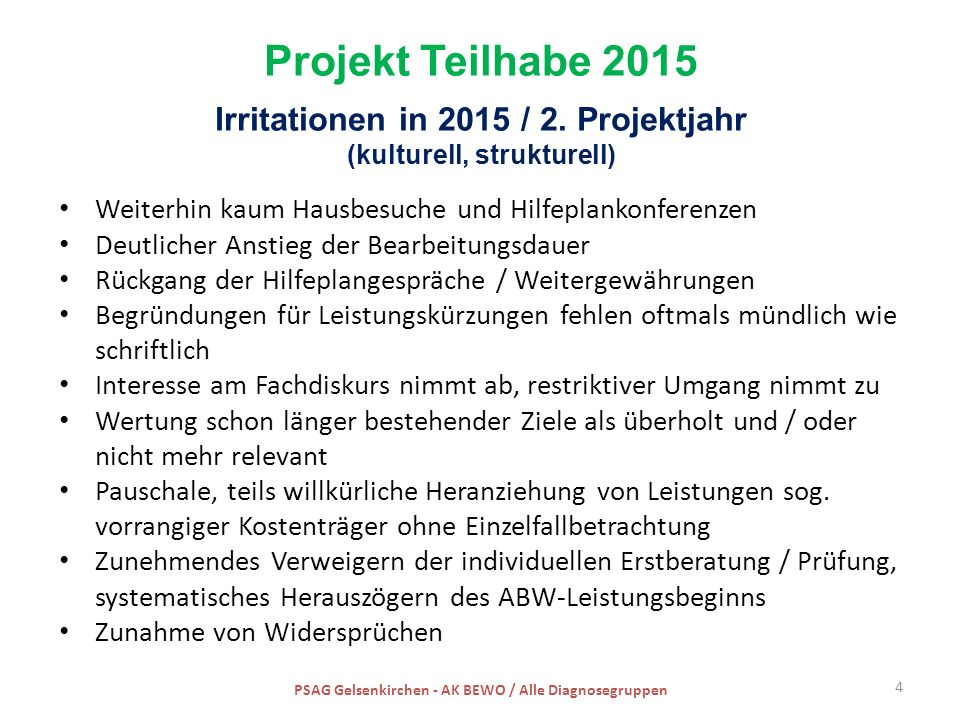 Projekt Teilhabe 2015 Irritationen in 2015 / 2.