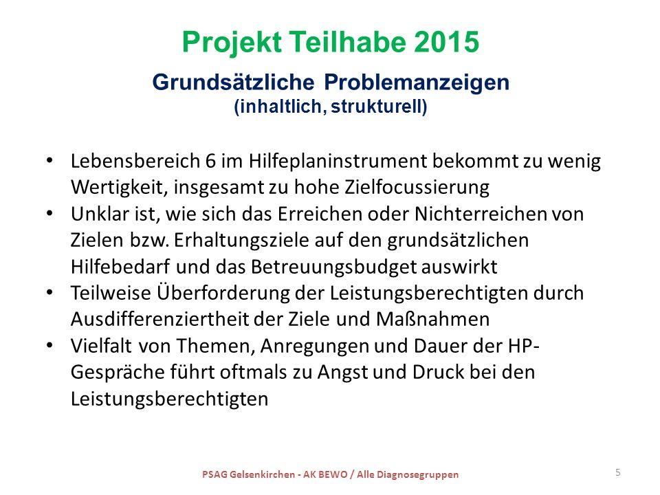 Projekt Teilhabe 2015 Grundsätzliche Problemanzeigen (inhaltlich, strukturell) Lebensbereich 6 im Hilfeplaninstrument bekommt zu wenig Wertigkeit, ins