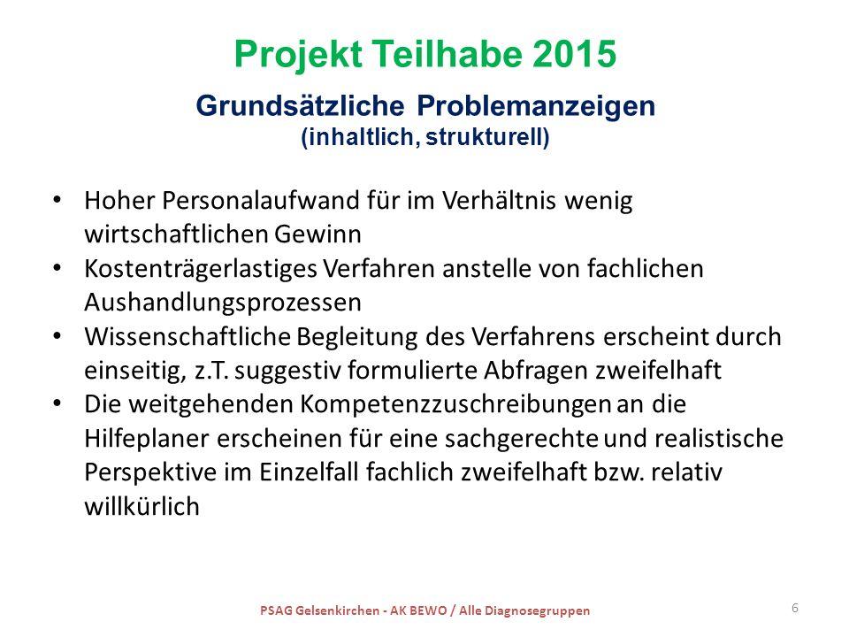 Projekt Teilhabe 2015 Grundsätzliche Problemanzeigen (inhaltlich, strukturell) Hoher Personalaufwand für im Verhältnis wenig wirtschaftlichen Gewinn K