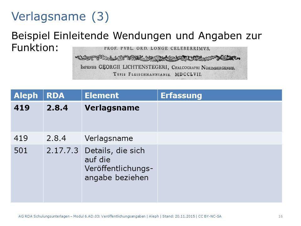 Verlagsname (3) AG RDA Schulungsunterlagen – Modul 6.AD.03: Veröffentlichungsangaben | Aleph | Stand: 20.11.2015 | CC BY-NC-SA 16 Beispiel Einleitende Wendungen und Angaben zur Funktion: AlephRDAElementErfassung 4192.8.4Verlagsname 4192.8.4Verlagsname 5012.17.7.3Details, die sich auf die Veröffentlichungs- angabe beziehen