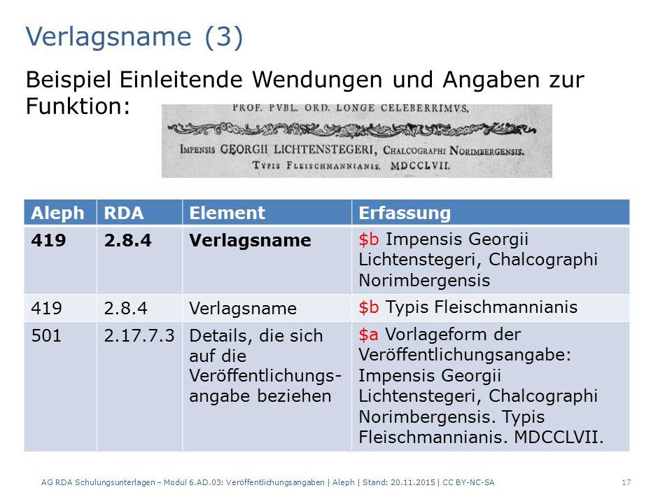 Verlagsname (3) AG RDA Schulungsunterlagen – Modul 6.AD.03: Veröffentlichungsangaben | Aleph | Stand: 20.11.2015 | CC BY-NC-SA 17 Beispiel Einleitende Wendungen und Angaben zur Funktion: AlephRDAElementErfassung 4192.8.4Verlagsname $b Impensis Georgii Lichtenstegeri, Chalcographi Norimbergensis 4192.8.4Verlagsname $b Typis Fleischmannianis 5012.17.7.3Details, die sich auf die Veröffentlichungs- angabe beziehen $a Vorlageform der Veröffentlichungsangabe: Impensis Georgii Lichtenstegeri, Chalcographi Norimbergensis.