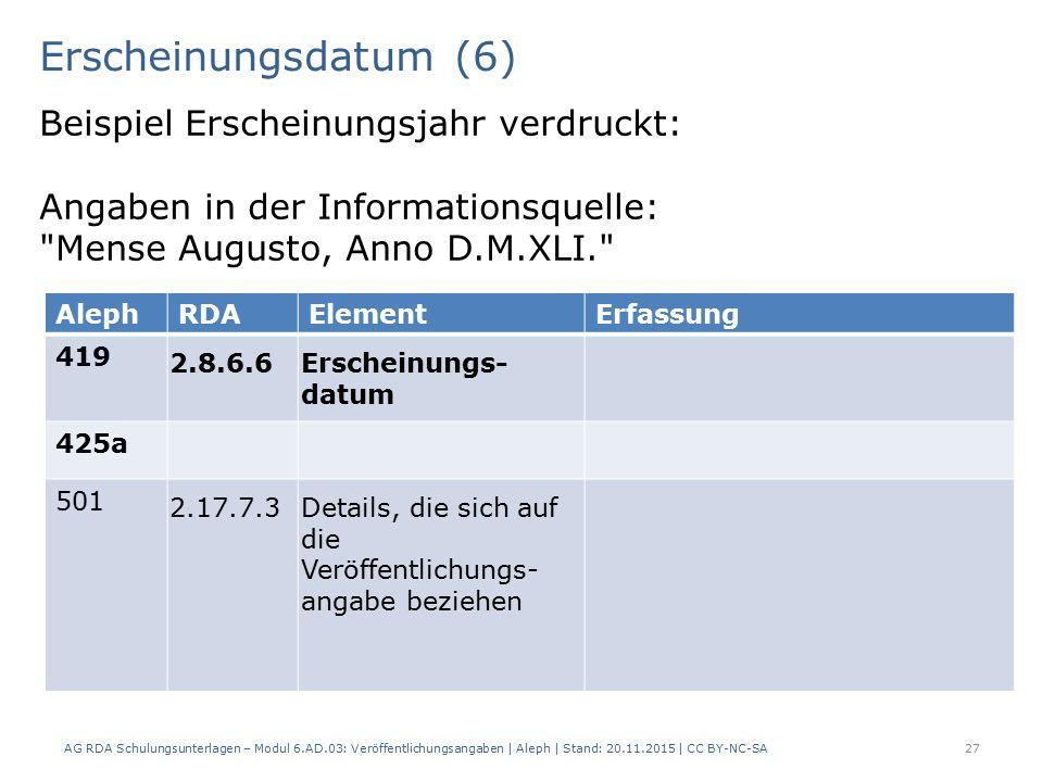 Erscheinungsdatum (6) AG RDA Schulungsunterlagen – Modul 6.AD.03: Veröffentlichungsangaben | Aleph | Stand: 20.11.2015 | CC BY-NC-SA 27 Beispiel Erscheinungsjahr verdruckt: Angaben in der Informationsquelle: Mense Augusto, Anno D.M.XLI. AlephRDAElementErfassung 419 2.8.6.6Erscheinungs- datum 425a 501 2.17.7.3Details, die sich auf die Veröffentlichungs- angabe beziehen