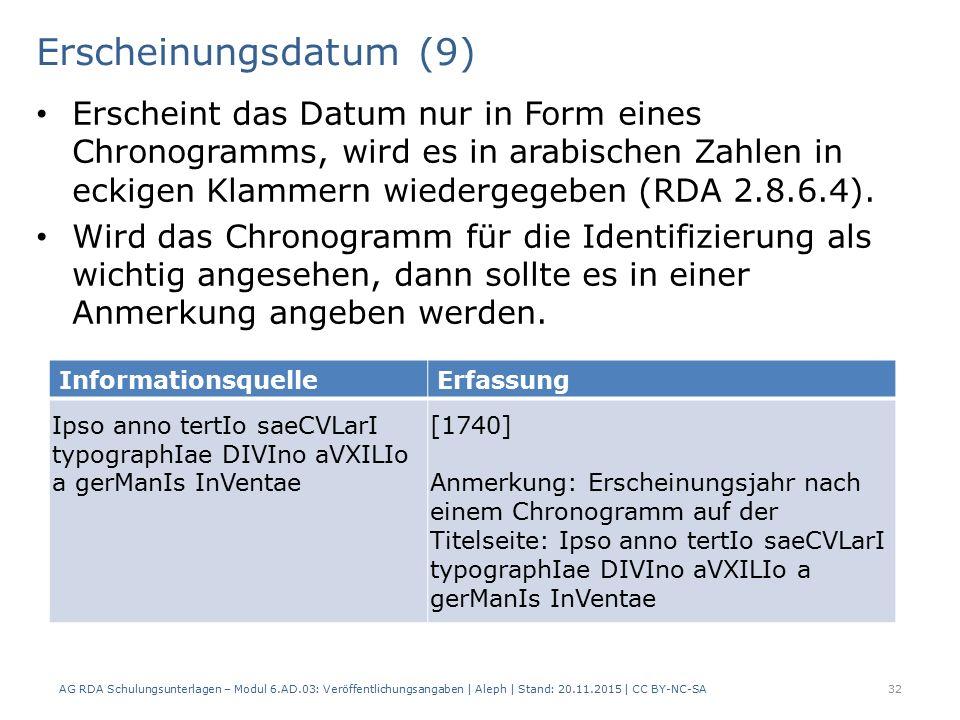 Erscheinungsdatum (9) AG RDA Schulungsunterlagen – Modul 6.AD.03: Veröffentlichungsangaben | Aleph | Stand: 20.11.2015 | CC BY-NC-SA 32 Erscheint das Datum nur in Form eines Chronogramms, wird es in arabischen Zahlen in eckigen Klammern wiedergegeben (RDA 2.8.6.4).