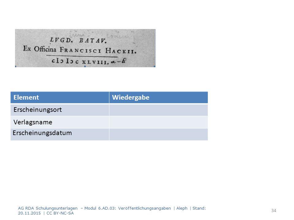AG RDA Schulungsunterlagen – Modul 6.AD.03: Veröffentlichungsangaben | Aleph | Stand: 20.11.2015 | CC BY-NC-SA 34 ElementWiedergabe Erscheinungsort Verlagsname Erscheinungsdatum