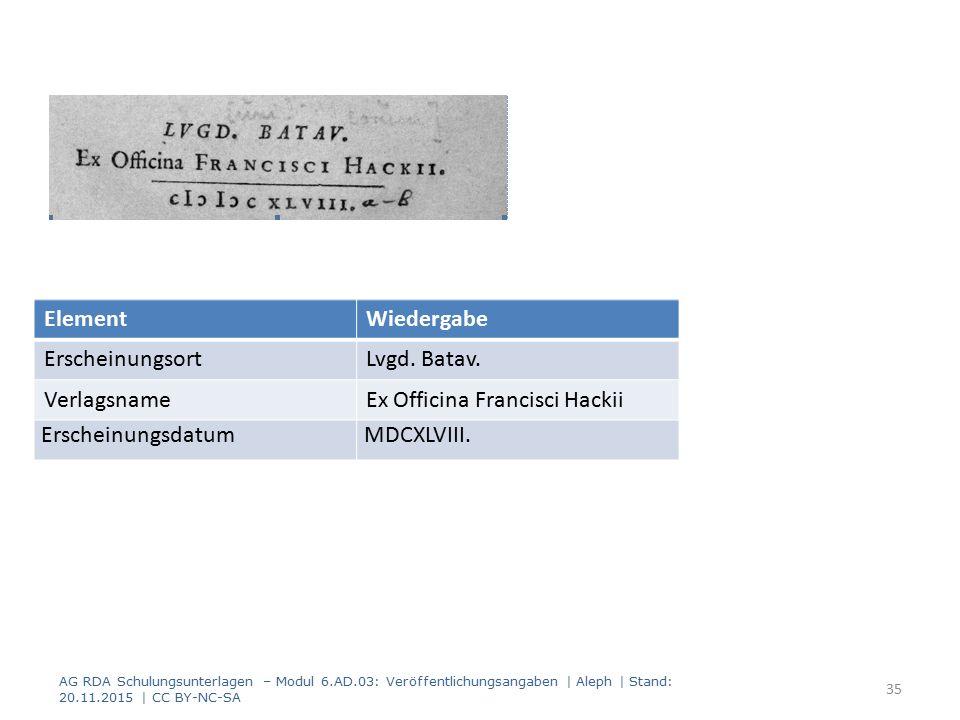 AG RDA Schulungsunterlagen – Modul 6.AD.03: Veröffentlichungsangaben | Aleph | Stand: 20.11.2015 | CC BY-NC-SA 35 ElementWiedergabe ErscheinungsortLvgd.
