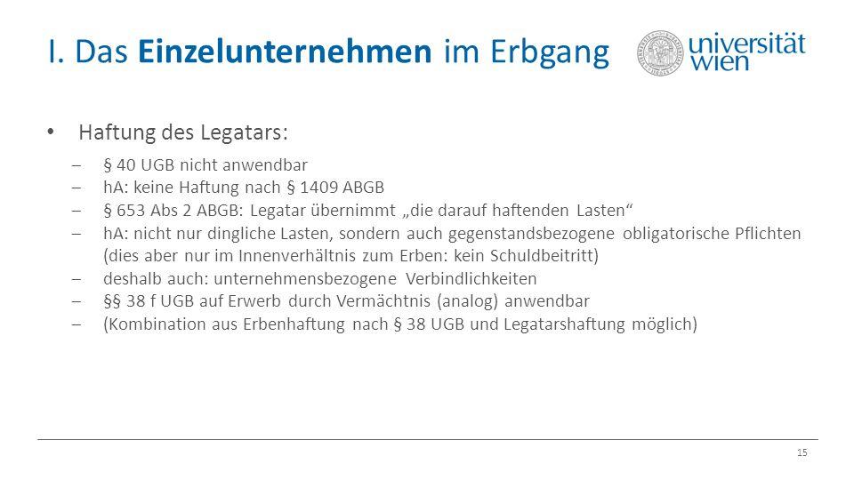 I. Das Einzelunternehmen im Erbgang 15 Haftung des Legatars:  § 40 UGB nicht anwendbar  hA: keine Haftung nach § 1409 ABGB  § 653 Abs 2 ABGB: Legat