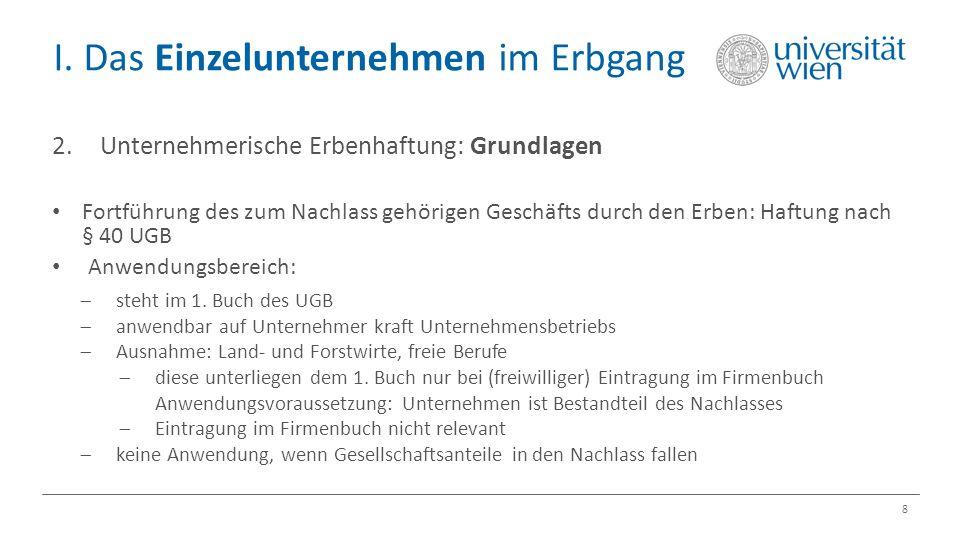 I. Das Einzelunternehmen im Erbgang 8 2.Unternehmerische Erbenhaftung: Grundlagen Fortführung des zum Nachlass gehörigen Geschäfts durch den Erben: Ha
