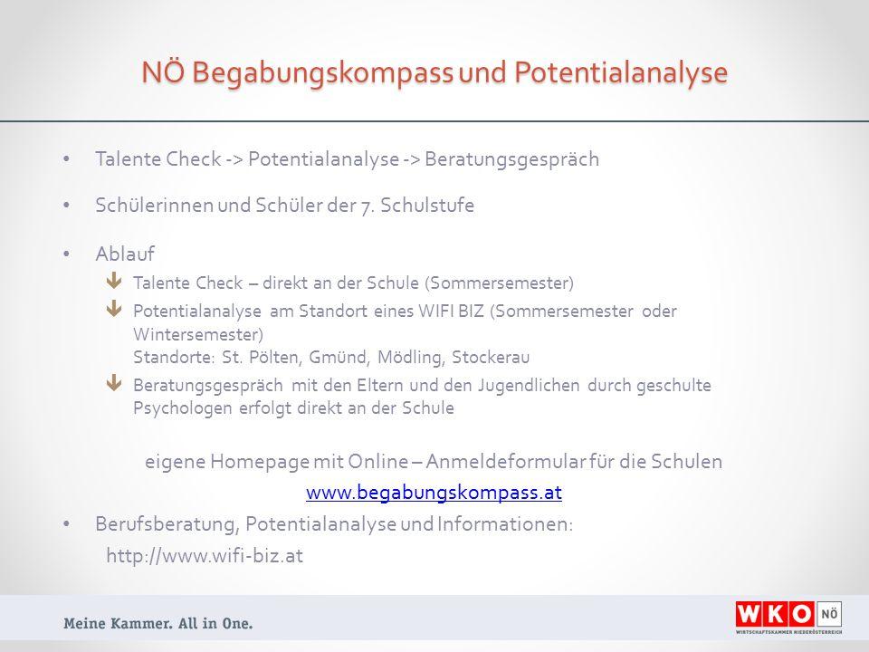 NÖ Begabungskompass und Potentialanalyse Talente Check -> Potentialanalyse -> Beratungsgespräch Schülerinnen und Schüler der 7.