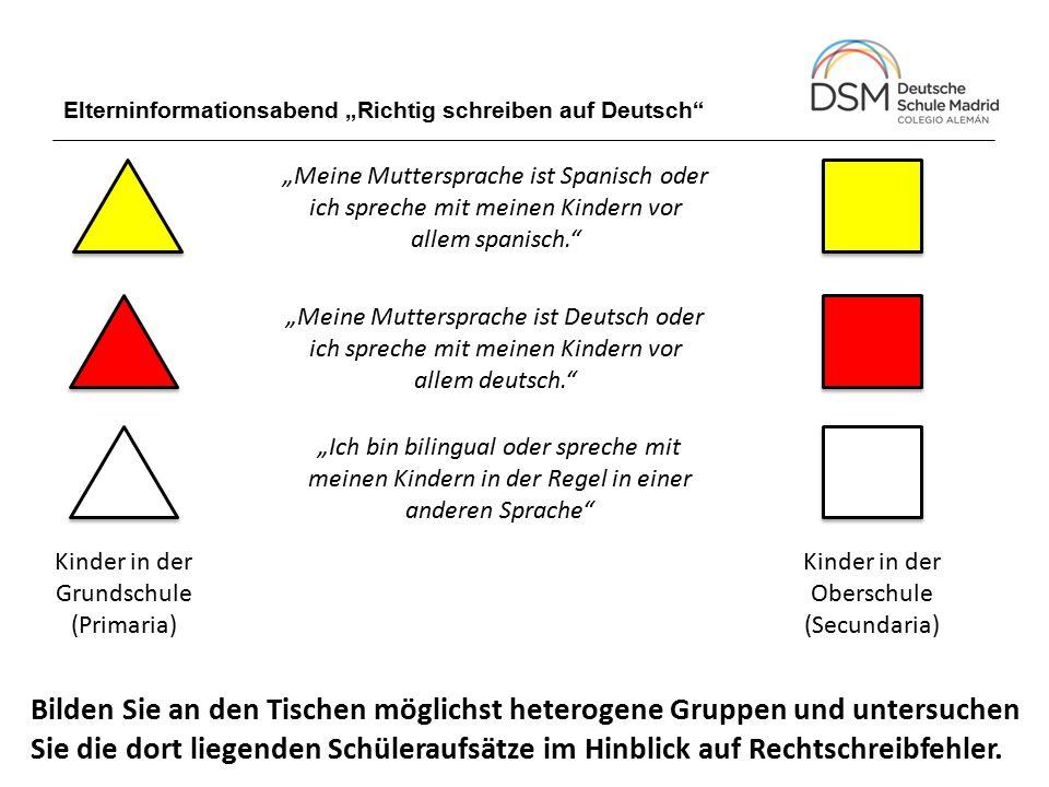 """Elterninformationsabend """"Richtig schreiben auf Deutsch"""" Kinder in der Grundschule (Primaria) Kinder in der Oberschule (Secundaria) """"Meine Muttersprach"""