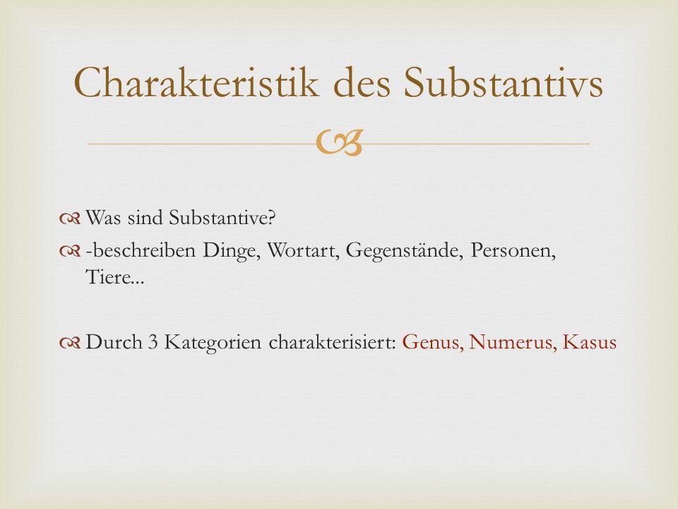   Was sind Substantive?  -beschreiben Dinge, Wortart, Gegenstände, Personen, Tiere...  Durch 3 Kategorien charakterisiert: Genus, Numerus, Kasus C