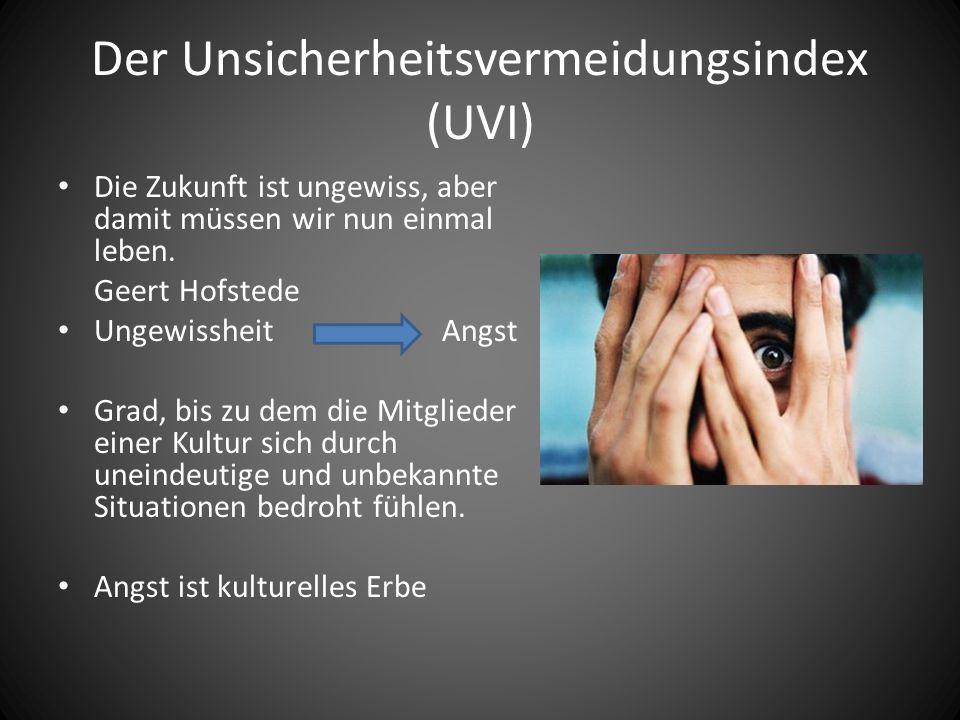 Der Unsicherheitsvermeidungsindex (UVI) Die Zukunft ist ungewiss, aber damit müssen wir nun einmal leben. Geert Hofstede Ungewissheit Angst Grad, bis