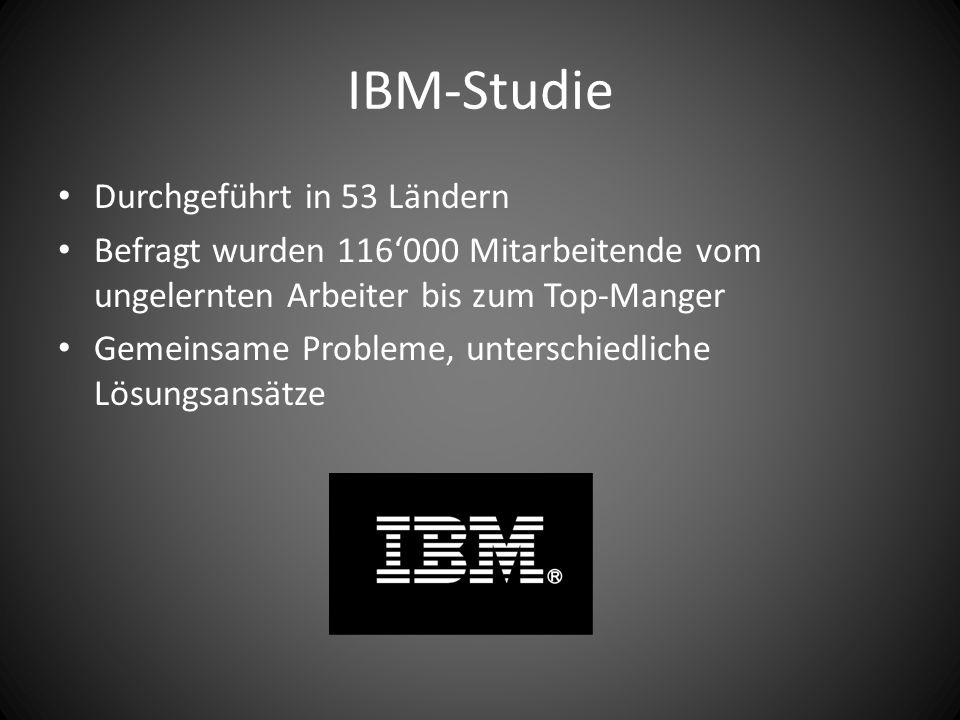 IBM-Studie Durchgeführt in 53 Ländern Befragt wurden 116'000 Mitarbeitende vom ungelernten Arbeiter bis zum Top-Manger Gemeinsame Probleme, unterschiedliche Lösungsansätze