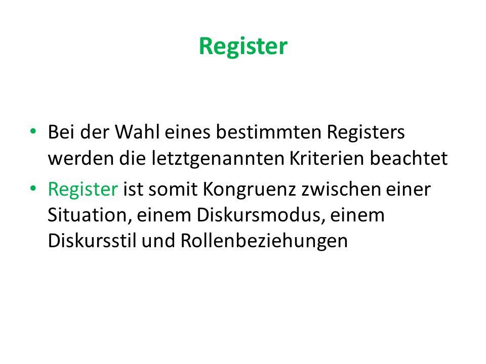 Register Bei der Wahl eines bestimmten Registers werden die letztgenannten Kriterien beachtet Register ist somit Kongruenz zwischen einer Situation, einem Diskursmodus, einem Diskursstil und Rollenbeziehungen