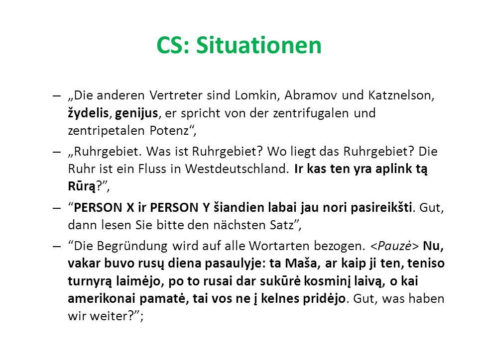 """CS: Situationen – """"Die anderen Vertreter sind Lomkin, Abramov und Katznelson, žydelis, genijus, er spricht von der zentrifugalen und zentripetalen Potenz , – """"Ruhrgebiet."""