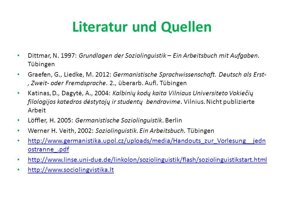 Literatur und Quellen Dittmar, N.