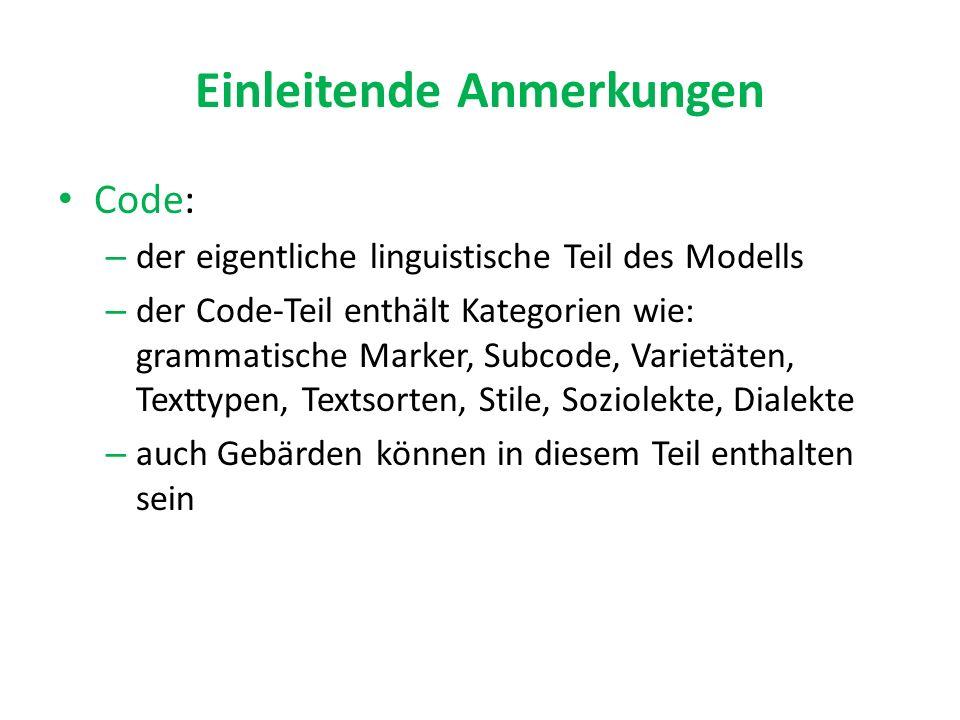 Einleitende Anmerkungen Code: – der eigentliche linguistische Teil des Modells – der Code-Teil enthält Kategorien wie: grammatische Marker, Subcode, Varietäten, Texttypen, Textsorten, Stile, Soziolekte, Dialekte – auch Gebärden können in diesem Teil enthalten sein