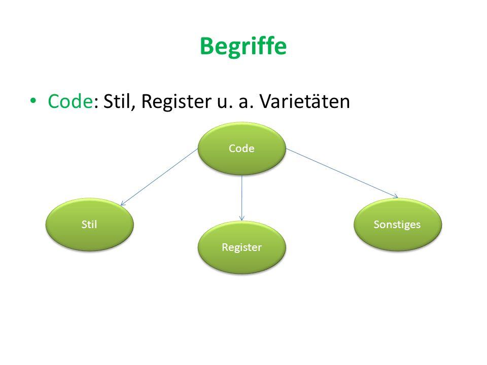 Begriffe Code: Stil, Register u. a. Varietäten Code Stil Register Sonstiges