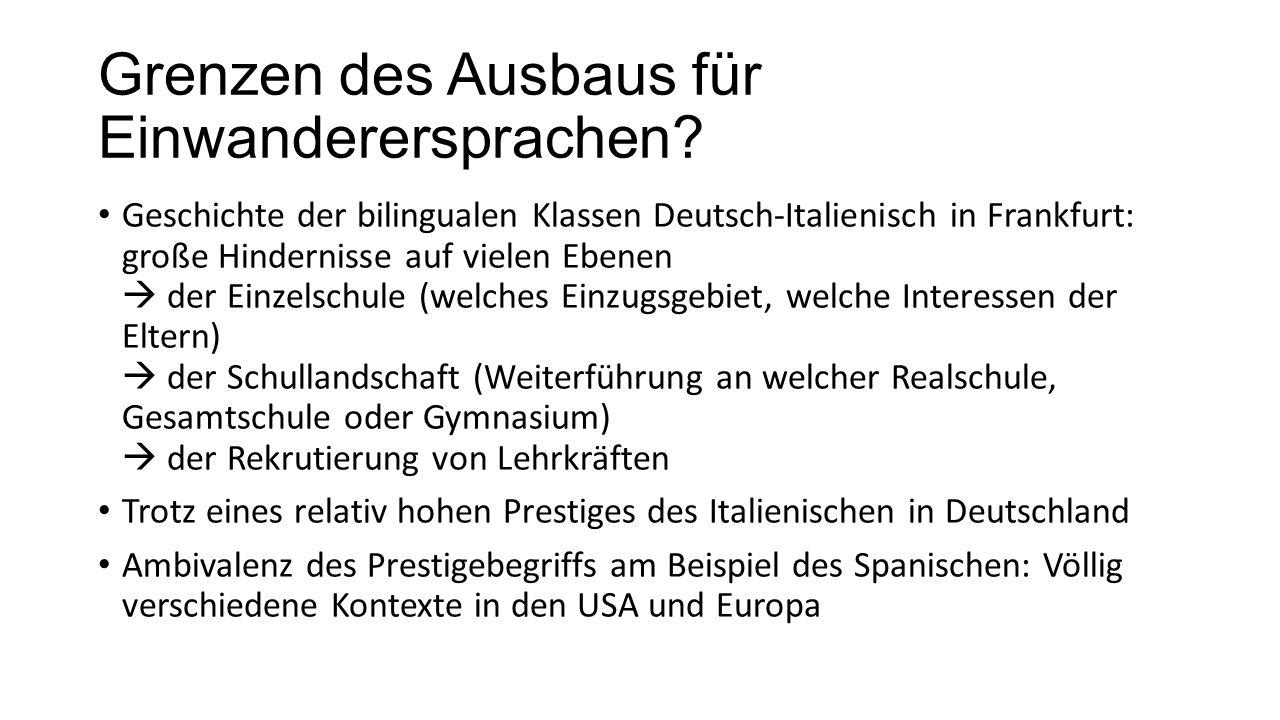 Grenzen des Ausbaus für Einwanderersprachen? Geschichte der bilingualen Klassen Deutsch-Italienisch in Frankfurt: große Hindernisse auf vielen Ebenen