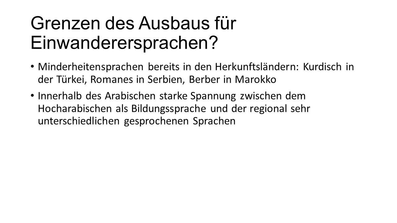 Grenzen des Ausbaus für Einwanderersprachen? Minderheitensprachen bereits in den Herkunftsländern: Kurdisch in der Türkei, Romanes in Serbien, Berber