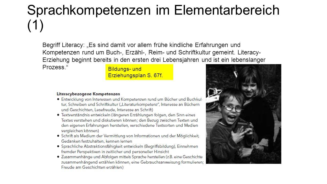 """Sprachkompetenzen im Elementarbereich (1) Begriff Literacy: """"Es sind damit vor allem frühe kindliche Erfahrungen und Kompetenzen rund um Buch-, Erzähl-, Reim- und Schriftkultur gemeint."""
