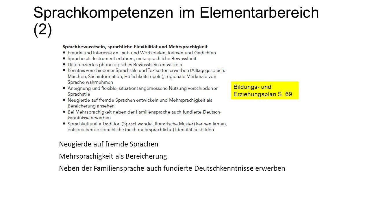 Sprachkompetenzen im Elementarbereich (2) Neugierde auf fremde Sprachen Mehrsprachigkeit als Bereicherung Neben der Familiensprache auch fundierte Deutschkenntnisse erwerben Bildungs- und Erziehungsplan S.