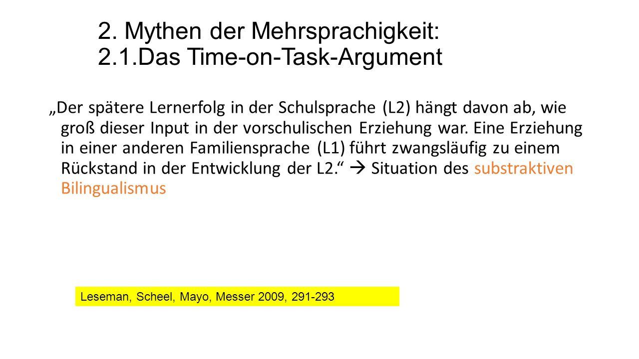 """2. Mythen der Mehrsprachigkeit: 2.1.Das Time-on-Task-Argument """"Der spätere Lernerfolg in der Schulsprache (L2) hängt davon ab, wie groß dieser Input i"""