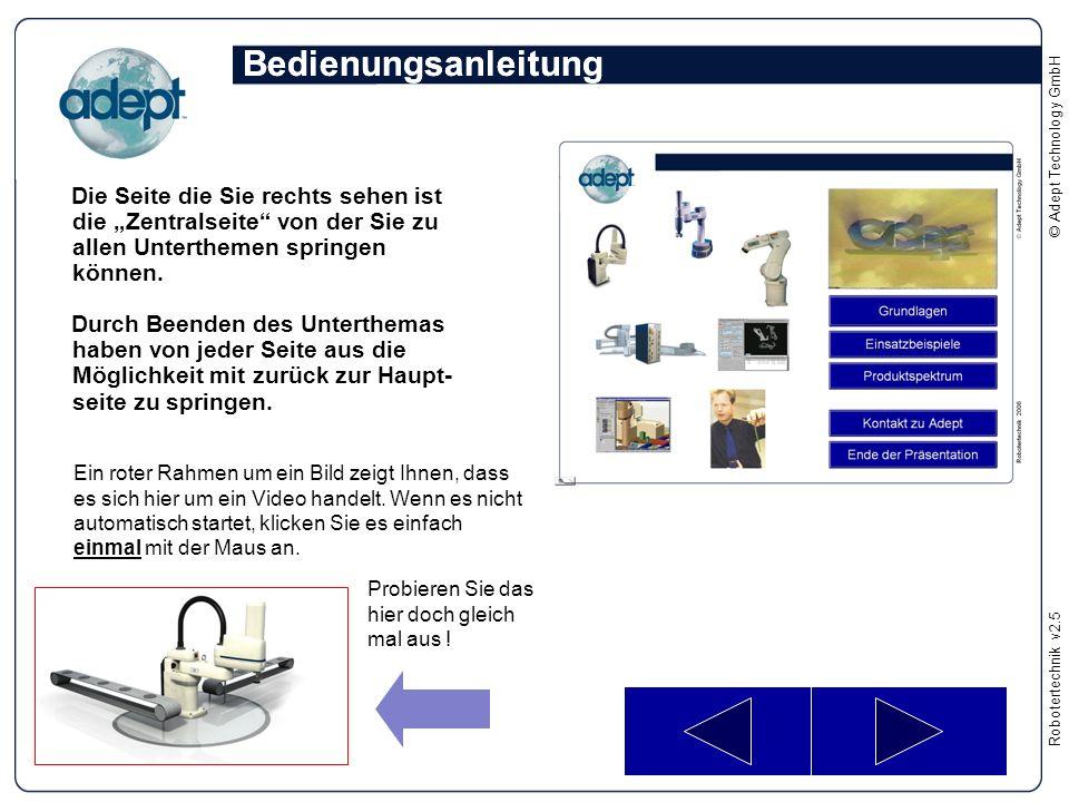 """Robotertechnikv2.5 © Adept Technology GmbH Die Seite die Sie rechts sehen ist die """"Zentralseite"""" von der Sie zu allen Unterthemen springen können. Dur"""