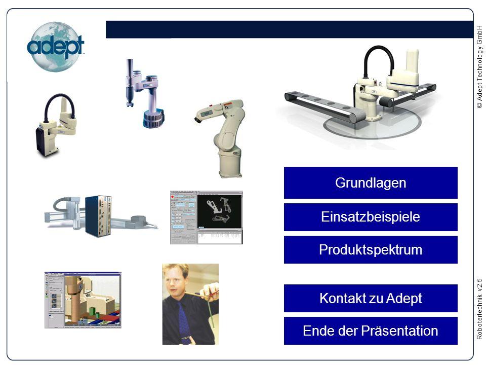 Robotertechnikv2.5 © Adept Technology GmbH Grundlagen Einsatzbeispiele Produktspektrum Kontakt zu Adept Ende der Präsentation