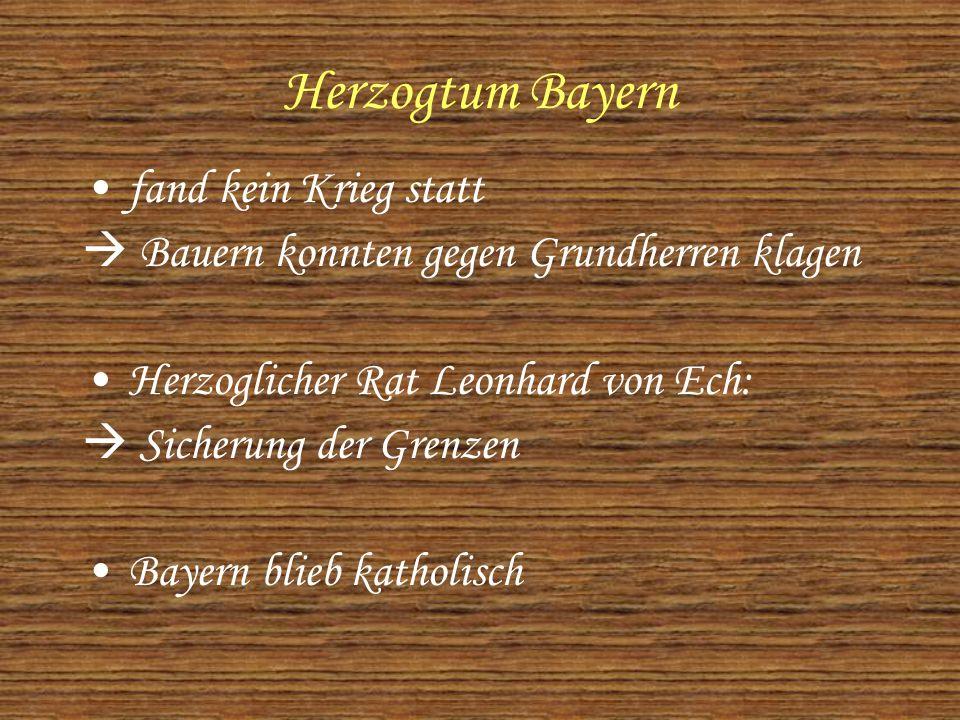Herzogtum Bayern fand kein Krieg statt  Bauern konnten gegen Grundherren klagen Herzoglicher Rat Leonhard von Ech:  Sicherung der Grenzen Bayern blieb katholisch