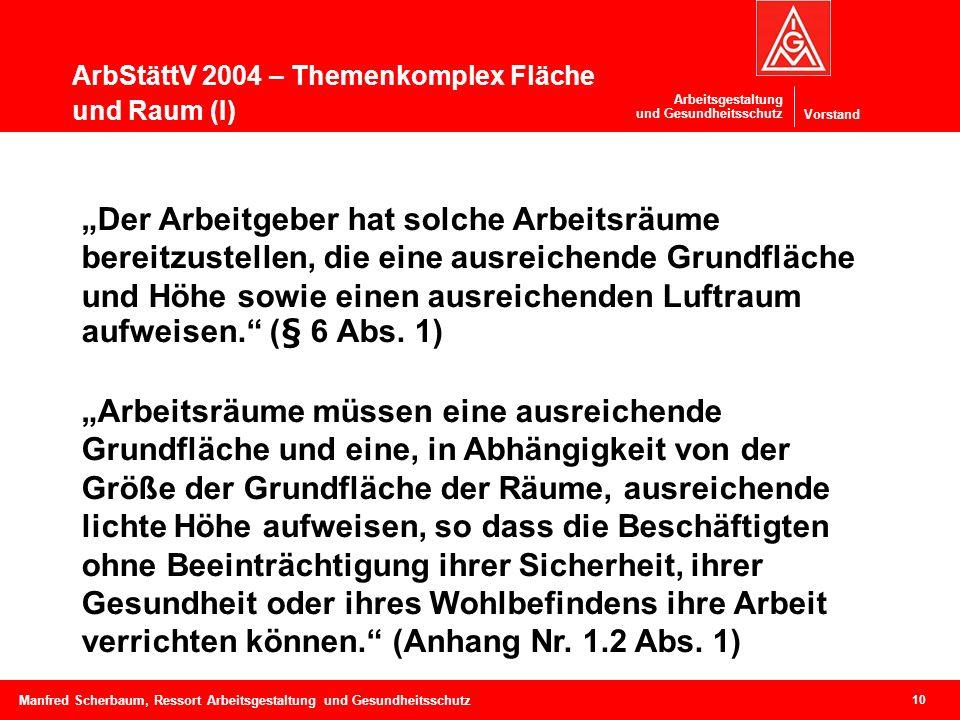 Vorstand Arbeitsgestaltung und Gesundheitsschutz ArbStättV 2004 – Themenkomplex Fläche und Raum (I) 10 Manfred Scherbaum, Ressort Arbeitsgestaltung un