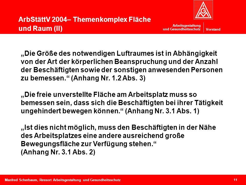 Vorstand Arbeitsgestaltung und Gesundheitsschutz ArbStättV 2004– Themenkomplex Fläche und Raum (II) 11 Manfred Scherbaum, Ressort Arbeitsgestaltung un