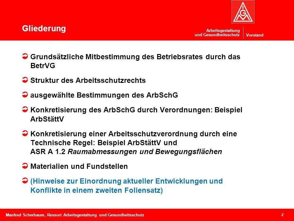 Vorstand Arbeitsgestaltung und Gesundheitsschutz Gliederung 2 Manfred Scherbaum, Ressort Arbeitsgestaltung und Gesundheitsschutz Grundsätzliche Mitbes