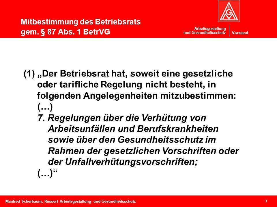 Vorstand Arbeitsgestaltung und Gesundheitsschutz Mitbestimmung des Betriebsrats gem. § 87 Abs. 1 BetrVG 3 Manfred Scherbaum, Ressort Arbeitsgestaltung