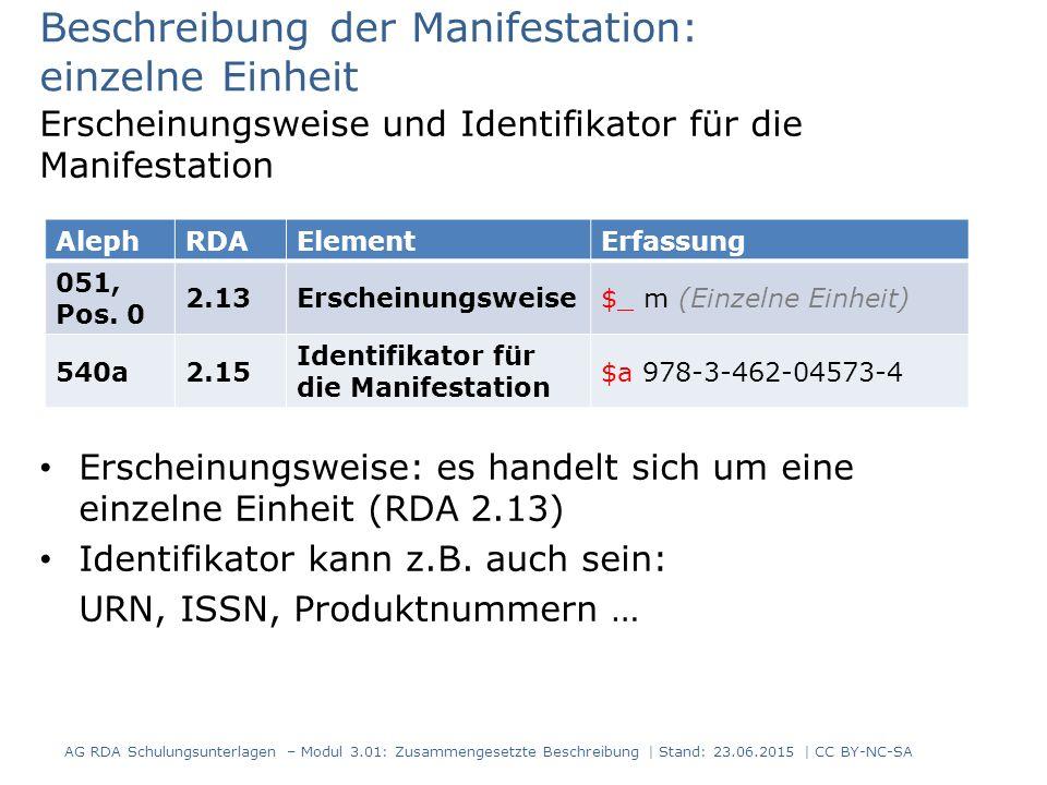 Beschreibung der Manifestation: einzelne Einheit Erscheinungsweise und Identifikator für die Manifestation Erscheinungsweise: es handelt sich um eine einzelne Einheit (RDA 2.13) Identifikator kann z.B.